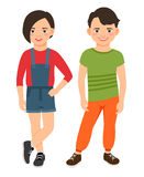 Fashion teen boy and girl characters. Isolated on white background. Teenage high school smiling children vector illustration Stock Photography