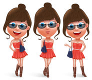 Fashion teen female vector character holding hand bag. Wearing fashionable skirt dress and boots with sunglasses with pose like model and smiling in white Royalty Free Stock Photos