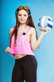 Fashion teen girl listen music mp3 relax happy and dancing Stock Image