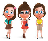 Fashion teen girl model vector characters set wearing stylish dress Stock Photos