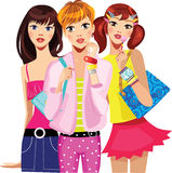 Fashion teen girls, girl face, group girls, girlfriends, tree teenage girls. Vector illustration of fashion teen girls, girl face, group girls, girlfriends, tree Royalty Free Stock Images