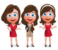 Fashion teenage girls vector characters set with model pose and hairstyles Royalty Free Stock Images