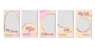 Fashion Templates for Photos in Networking Sites. Fashion Templates and Frames for Photos in Networking Sites Vector Illustration. It`s my Life, Like, New Post vector illustration