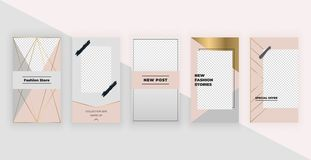 Fashion templates for Instagram Stories. Modern cover design for social media, flyers, card. royalty free illustration