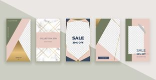 Fashion templates for Instagram Stories. Modern covers design for social media, flyers, card. stock illustration