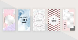 Fashion templates for Instagram Stories with watercolor texture, polygonal line frame and marble texture. Modern covers design for royalty free illustration