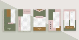 Fashion templates for stories. Modern covers design for social media, flyers, card. stock illustration
