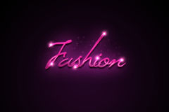 Fashion text. A sparkling and glowing fashion text on a purple background Stock Image