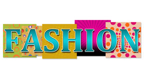 Fashion Text with various background. Fashion text in turquoise colour on various colourful backgrounds royalty free illustration