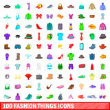 100 fashion things icons set, cartoon style. 100 fashion things icons set in cartoon style for any design vector illustration Royalty Free Stock Images