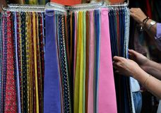 Fashion tie market in Florence, Italy  Stock Image