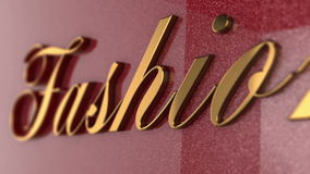 Fashion title. Fashion banner, golden letters on pink background stock footage