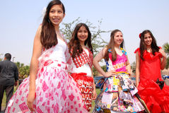 Fashion with trash material on Earth Fest Stock Photo
