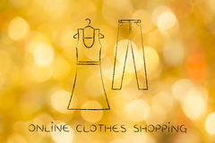 Fashion trends and choices: dress and jeans illustration Royalty Free Stock Photography