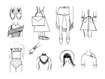 Fashion trends in women`s clothing. Street outfit. Casual style. Royalty Free Stock Photos