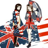 Fashion trendy background with girls and English and USA flag Stock Photography