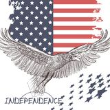 Fashion trendy background USA flag and eagle symbol of independe Stock Images