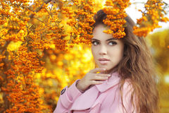 Fashion trendy beauty girl autumn portrait. Brunette woman over Stock Photography
