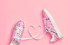 Fashion Trendy Hipster Shoes. Love,Valentines day Royalty Free Stock Images