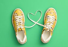 Fashion Trendy Trainers with Heart. Valentines day. Fashion Trendy Trainers with Heart. Woman Set. Bright Green Color. Minimal Style. Summer Floral Sneakers Stock Photos