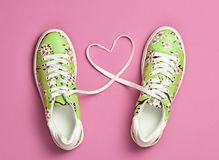 Fashion Trendy Trainers with Heart. Valentines day. Fashion Trendy Trainers with Heart. Woman Set. Pastel Pink Color. Minimal Style. Summer Floral Sneakers. Flat Stock Image
