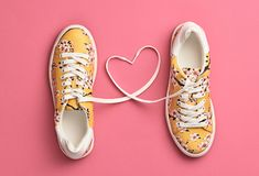 Fashion Trendy Trainers with Heart. Valentines day. Fashion Trendy Trainers with Heart. Woman Set. Pastel Pink Color. Minimal Style. Summer Floral Sneakers. Flat Stock Photo