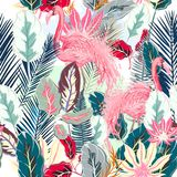 Fashion tropical vector artistic pattern with pink flamingo and. Tropical leafs vector illustration