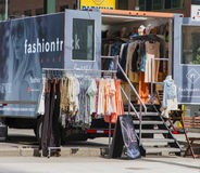 Fashion truck. Fashion boutique on wheels, selling clothes in a street in downtown Toronto. A new business concept that still developing in USA and Canada Royalty Free Stock Photography