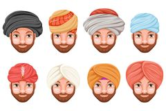 Fashion turban headdress arab indian culture sikh sultan bedouin cute beautiful man head hat isolated icons set cartoon. Fashion turban headdress indian arab Stock Photo