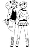 Fashion twins girls. Illustration,black and white,art,outline Stock Photo