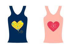 Fashion two shirts with a heart Stock Photos
