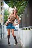 Fashion urban portrait of beautiful model on the street Stock Image