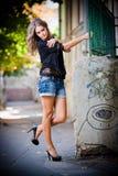 Fashion urban portrait of beautiful model on the street Royalty Free Stock Image