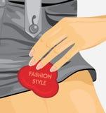 Fashion utformar. Fragment av den kvinnliga grå färgbomullsshoren Arkivbild