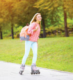 Fashion, vacation and people concept - pretty smiling girl Stock Image