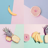 Fashion Vanilla colors fruit set. Fashion Vanilla fruit set. minimal Style Stock Image