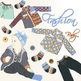 Fashion vector  background with baby and trendy clothiers Stock Images