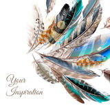 Fashion vector background with blue white and brown feathers stock illustration