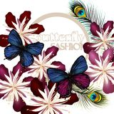 Fashion vector background with butterflies Stock Image