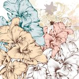 Fashion vector background with flowers Stock Image