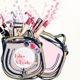 Fashion vector background with hand drawn female bag. And cosmetics lipstick cream and other Stock Photography