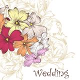 Fashion vector background with hand drawn  flowers Royalty Free Stock Photos