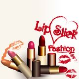 Fashion vector background with lipstick Royalty Free Stock Image