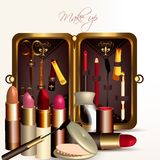Fashion vector background with make up accesories Royalty Free Stock Photography