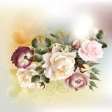 Fashion vector background with roses in vintage style. Vector cute roses in vintage style for design Stock Photography