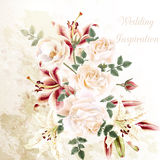 Fashion vector background with roses in vintage style. Grunge illustration with beautiful roses and lily flowers wedding or anniversary background Stock Images
