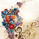 Fashion vector background with roses in vintage style. Grunge vector background with music notes and rose flowers in vintage style Stock Images
