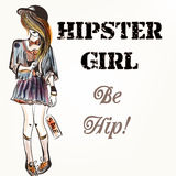 Fashion vector background with trendy hipster girl Stock Photo