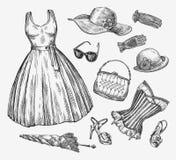 Fashion. Vector collection of women clothing. Hand-drawn sketch umbrella, dress, sunglasses, corset, handbag, hat Royalty Free Stock Images