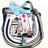 Fashion vector  with hand drawn female bag and cosmetics. Fashion vector  with hand drawn female bag and cosmetics lipstick cream and others Royalty Free Stock Photo